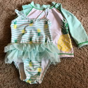 Infants Bathing Suit and Cover Shirt.